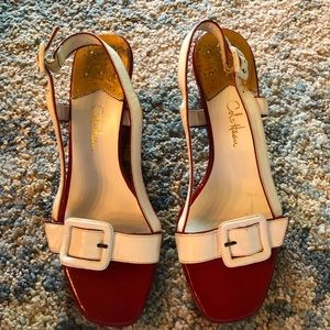 Cole Haan Nike air red and white wedge sandals